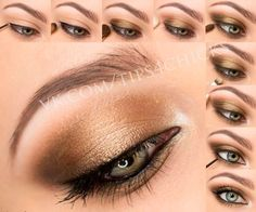Bronze, gold & brown eye makeup. Adore these colours, looks good on anyone! Simple eyeshadow tutorial.