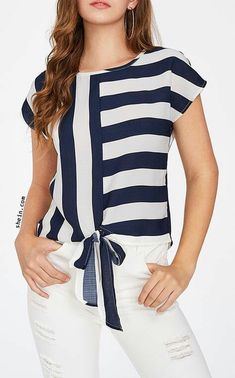 happy-go wardrobe Womens Striped 3//4 Bell Sleeve Off The Shoulder Front Tie Knot T Shirt Tops Blouse