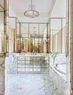 See What This Georgetown Apartment Looked Like Before and After Its Transformation - Architectural Digest Architectural Digest, Bathroom Interior Design, Decor Interior Design, Interior Decorating, Decorating Ideas, Interior Plants, Beautiful Bathrooms, Modern Bathroom, Gold Bathroom