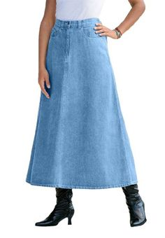 Roamans Plus Size Perfect Denim A-line Skirt $19.99