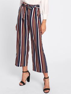 Crop Zipper Fly. Wide Leg, Straight Leg Decorated with Belted, Pocket, Zipper, Knot. Loose fit. Mid Waist. Striped design. Trend of Spring-2018, Fall-2018. Designed in Multicolor. Fabric has no stretch.