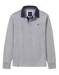 Men's Crew Long Sleeve Rugby in Mid Grey Marl from Crew Clothing