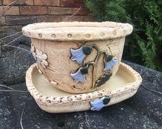 Slab Ceramics, Raku Pottery, Concrete Crafts, Flower Pots, Flowers, Earthenware, Terracotta, Planter Pots, Succulents