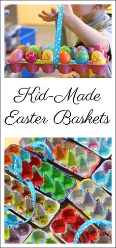 Kids can use recycled materials to make these easy homemade Easter baskets. They're perfect for a school or church Easter egg hunt! #Easter #EasterCrafts #FunADay #Preschool #PreschoolActivities #EasterBasket #ECE