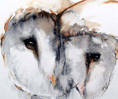 Summer Sale-Barn owl Couple painting original watercolor