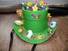 super mario brothers easter bonnet with eggs inside the mystery box's