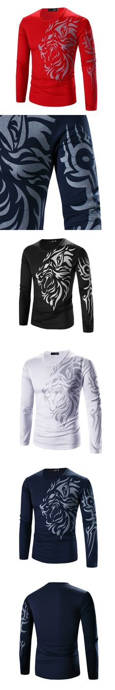 2017 Summer Spring Mens Cotton Long Sleeve T-Shirts Dragon Printed Slim Tees Top Men Bottoming Outwear Shirts Plus Size T-Shirt