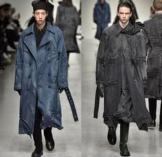 Xander Zhou 2017-2018 Fall Autumn Winter Mens Runway Catwalk Looks - London Collections Fashion Week Mens British Fashion Council UK - Oversized Trench Coat Furry Shaggy Plush Shearling Turtleneck Sweater Frankenstein Padded Shoulders Kimono Wrap Wide Sleeves Neck Tie Leather Workwear Mud Outdoor Mountaineering Swamp Pants Cargo Pockets Zipper Leg Panels Denim Jeans Wrinkles Crinkles Wide Leg Garter Waistband Rain Boots Galoshes Lace Up Portfolio Bag Tote Gloves Headwear Lunchbox