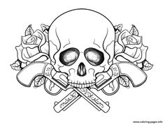 Skull with guns flowers coloring pages printable and coloring book to print for free. Find more coloring pages online for kids and adults of Skull with guns flowers coloring pages to print. Skull Coloring Pages, Heart Coloring Pages, Quote Coloring Pages, Flower Coloring Pages, Free Coloring Pages, Coloring Sheets, Coloring Books, Coloring Pages For Grown Ups, Printable Adult Coloring Pages