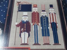 """Unframed, Handmade """"Sams in Stripes"""" Cross Stitch- 4th of July, USA, Independence Day, Holiday"""