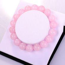 Mode déclaration bijoux Rose Quartz 10 MM perles rondes pierre Semi - précieuse de cristal bracelets bangles pour femmes bijoux amour cadeau(China (Mainland))