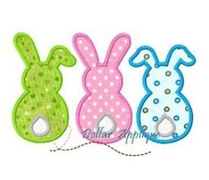 3 Bunnies Applique - 3 Sizes!   What's New   Machine Embroidery Designs   SWAKembroidery.com Dollar Applique