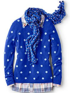 Pretty polka dots add a polished touch to a simple cashmere sweater.  Nov 2016