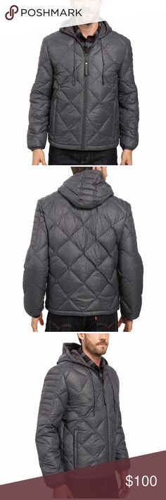 Marc New York Appleton Jacket Men Size S A stylish and functional hooded jacket for fall and winter wear. Lightweight, water-resistant down jacket features a diamond quilted design. Down and feathers fill for warmth. Attached drawstring hood. Full zip front with self pull. Moto-inspired quilting on the shoulders and sleeves. Zipper welt hand pockets. Interior pocket. Lined. Style #MM6AD171. 73% nylon, 27% polyester; Lining: 100% polyester; Fill: 90% down, 10% waterfowl feathers. Machine…