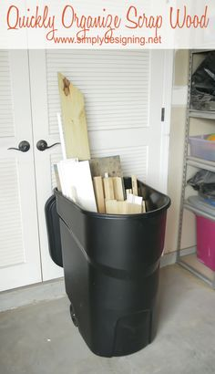 TRASH CAN ON WHEELS FOR WOOD SCRAP STORAGE- How to organize your garage!  (how do I get my husband to play by these rules? haha)