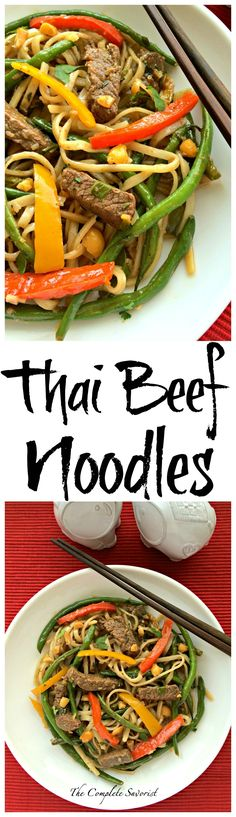 Thai Beef Noodles ~ Quick recipe for stir fried beef, peppers, green beans, and rice noodles in  a Thai sauce. ~ The Complete Savorist