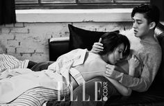 Yoo Ah In and Kim Hee Ae Move Their Secret Love Affair to the Pages of Elle Korea Korean Actresses, Korean Actors, Actors & Actresses, Elle Magazine, Couple Posing, Couple Shoot, Korean Couple Photoshoot, Kiss And Romance, Yoo Ah In