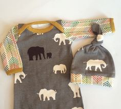 ORGANIC newborn take home outfit, gown and hat, in gray elephants made by Lily & Charlie organic baby  Ready to ship!! by Lilyandcharliebaby on Etsy https://www.etsy.com/listing/223285669/organic-newborn-take-home-outfit-gown