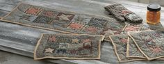 Homespun Primitive Kitchen Accessories - Hand Quilted Placemats. Table Runner And Placemats, Table Runners, Country Kitchen Accessories, Place Mats Quilted, Primitive Kitchen, Hand Quilting, Outdoor Blanket, Crafty, Products