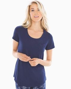 Cool Nights Short Sleeve Pajama Tee with Pocket Navy  dry Wide cool a4bc897c3