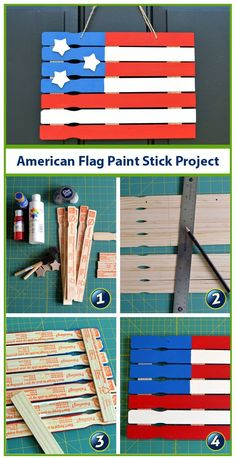 Make a paint stick American Flag for the of July with supplies from your local craft and hardware stores. Make a paint stick American Flag for the of July with supplies from your local craft and hardware stores. Patriotic Crafts, July Crafts, Summer Crafts, Crafts To Do, Holiday Crafts, Wood Crafts, Crafts For Kids, Patriotic Party, Patriotic Wreath