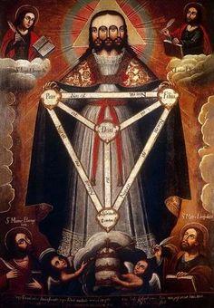 La Trinidad Trifacial, anónimo cusqueño del siglo XVIII. Museo de Arte de Lima - Perú