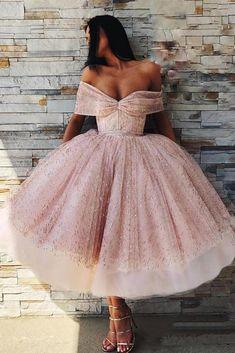 Off the Shoulder Sparkly Pink Tea Length Ball Gown Prom Dresses Prom Dresses Ball Gown, Sequin Prom Dresses, Prom Dresses Pink, Prom Dress Prom Dresses 2020 Lace Homecoming Dresses, Ball Gowns Prom, Ball Dresses, Evening Dresses, Summer Dresses, Wedding Dresses, Dress Prom, Winter Dresses, Pink Ball Gowns