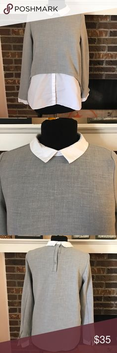 Zara mixed media top Grey and white collared top. Gives off the appearance of a layered look without all the bulk. Zara Tops Blouses