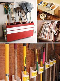DIY Garage Storage Hacks, love the tape idea. Garage Shed, Man Cave Garage, Garage House, Garage Workshop, Diy Garage Storage, Storage Hacks, Storage Ideas, Storage Solutions, Pvc Storage