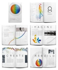 I like the consistency of rainbow color and abstract shapes that are continuously shown in every page.