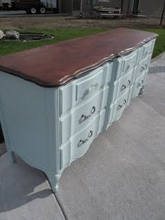 Dresser Redo step by step. Looooove the stained top and colored bottom