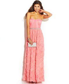 As U Wish Juniors' Strapless Sweetheart Rosette Dress - Juniors Prom Dresses - Macy's