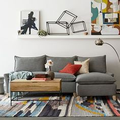 Bliss Down Filled 2 Piece Chaise Sectional Pebble Linen Weave West Elm RugModern Living Room
