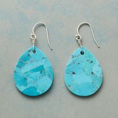 """TURQUOISE TEARS EARRINGS--Expertly hand-cut tabs of turquoise, each unique, create a simple, stylish statement as they sway from sterling silver wires. USA. Exclusive. 1-7/8""""L."""