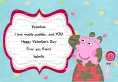 PERSONALIZED Peppa Pig Valentine 3.5 X 5 By PartyPotpourri, $5.00