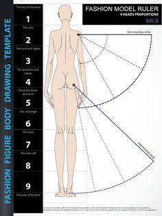 Fashion Figure Drawing Template - 9 Heads Back