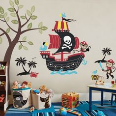 Monkey Pirate Ship Wall Decal with Two Monkey Decals Set Kid Wall Decals, Baby Nursery Vinyl Wall Decals, Baby Boys Room Decoration