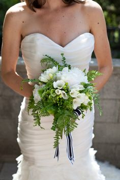 I love this fern and white flower bouquet!