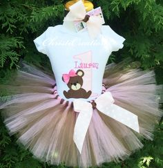 Baby Girl First Birthday Outfit - Teddy Bear Birthday Party - 1st Birthday Tutu Outfit - Pink and Chocolate by ChristiCreations on Etsy https://www.etsy.com/listing/245286973/baby-girl-first-birthday-outfit-teddy