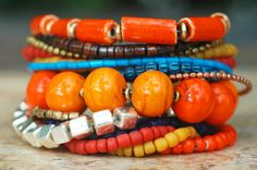 Marrakesh Bracelet: Moroccan-Inspired Orange, Yellow, Blue and Silver Cuff Bracelet Great color combo.