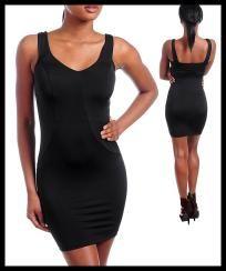 Black Wiggle Pencil Mini Club Dress - Choose Size S - M - L - XL