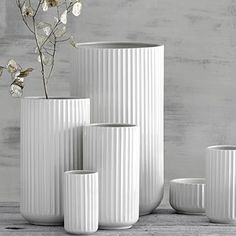 A mix of the original Lyngby Vase collection in white porcelain. Danish Design, Modern Design, Cement Art, White Vases, Scandinavian Home, Vases Decor, White Porcelain, Decoration, Interior Styling