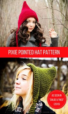 """Cute pointy pixie hat.  Worn in the movie """"Chloe & Theo"""".  Instant pattern download, $5 #pixie #fairy #woodland #littleredridinghood #knitting #hat #pattern #affiliate #etsy"""