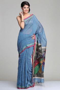 Blue Matka Silk Saree With Beige Gheecha Stripes And Black Raw Silk Pallu With Colourful Peacock Jamdani Motifs