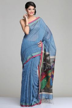 Blue Matka Silk Saree With Beige Gheecha Stripes And Black Raw Silk Pallu With Colourful Peacock Jamdani Motifs