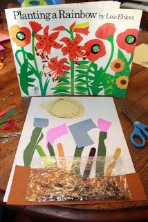 This greeting card was inspired by PLANTING A RAINBOW by Lois Ehlert. Made with cut paper, Popsicle sticks, and seeds gathered from wildflowers. Rainbow Activities, Book Activities, Preschool Books, Preschool Activities, Planting A Rainbow, Lois Ehlert, November 9th, Step Kids, Kids Story Books