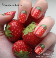 strawberry nails. @Gabby Portillo did this to my nails last summer actually, they looked great!