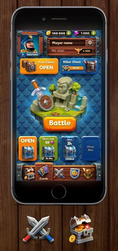 The main screen of the game with a mechanics similar to a Clash Royale. They were painted buttons, chests, a central icon and other . Game Gui, Game Icon, League Of Legends, Jeopardy Game Template, Mobiles, Mobile App Games, Map Games, Test Games, Game Ui Design