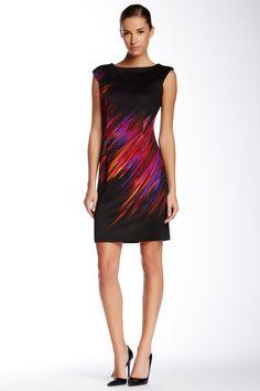 Maggy London Flame Print Scuba Dress