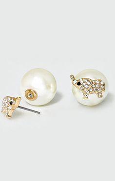 Pearly Elephant Earrings in Gold